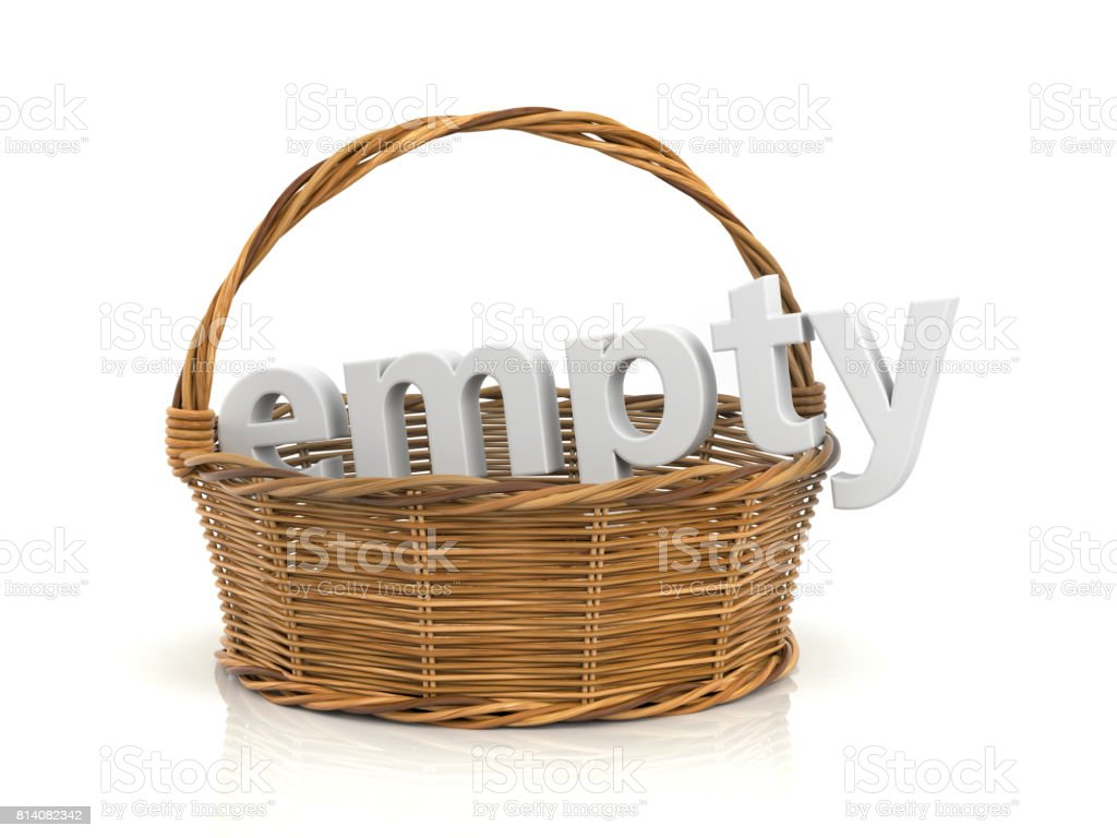 Empty wooden basket. White word in the basket. 3d illustration stock photo