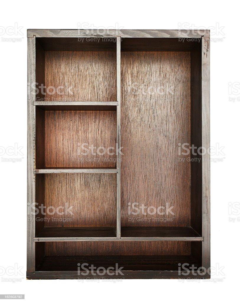 empty wooden bookshelf royalty-free stock photo