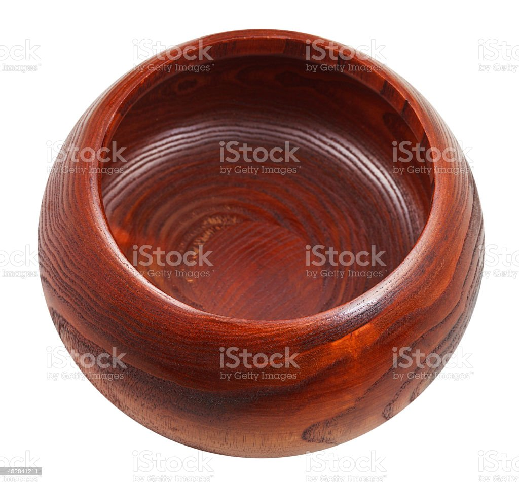 empty Wooden bowl isolated stock photo