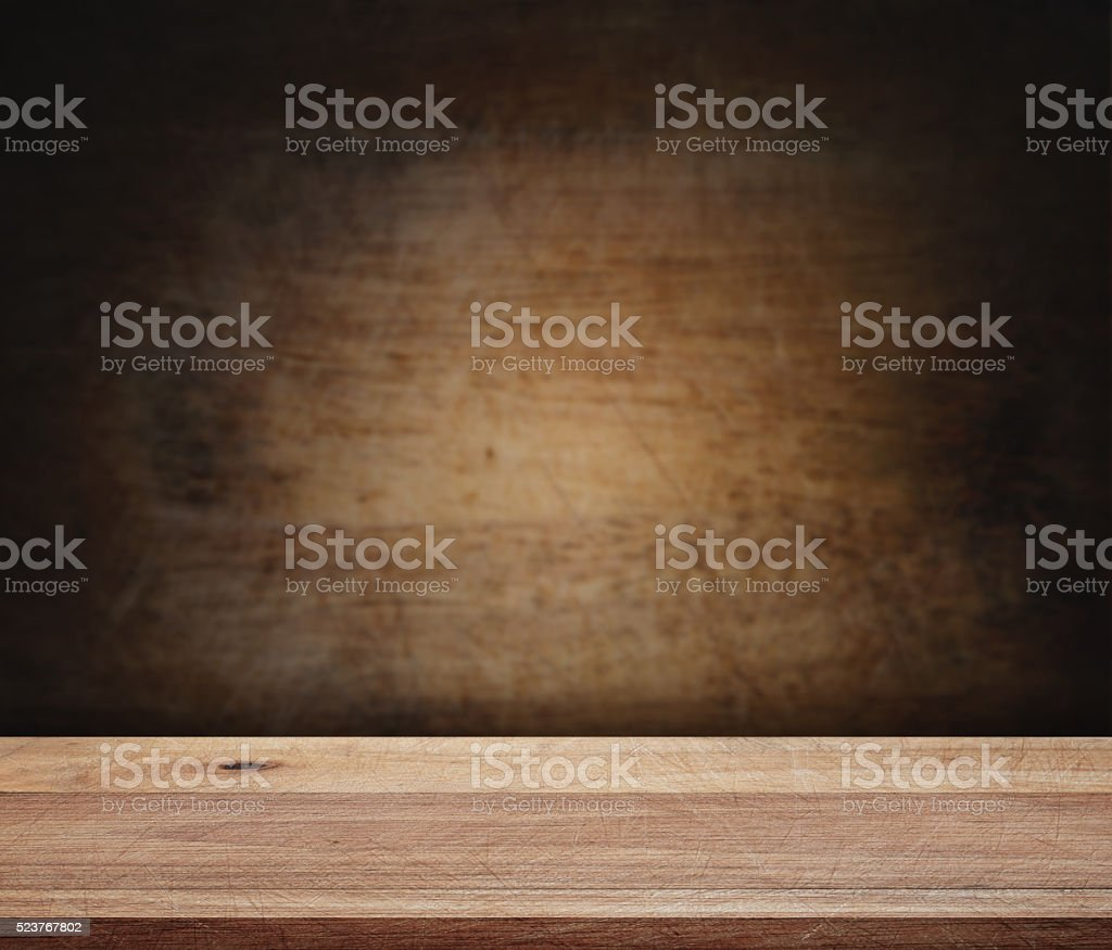 Empty wooden deck table with scratched background stock photo