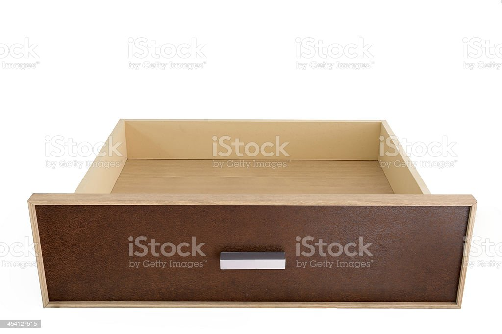 Empty wooden drawer stock photo