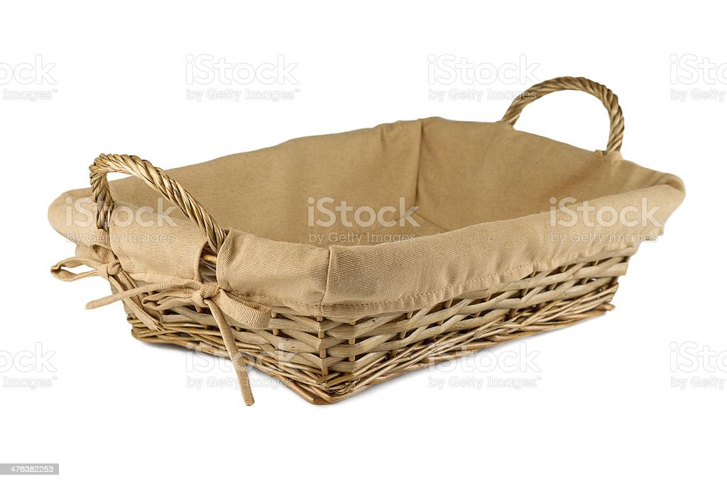 Empty wooden fruit or bread basket isolated on white background royalty-free stock photo