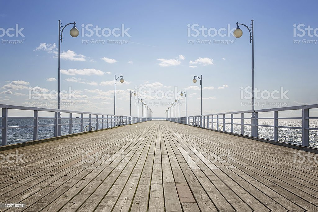 Empty wooden pier stock photo