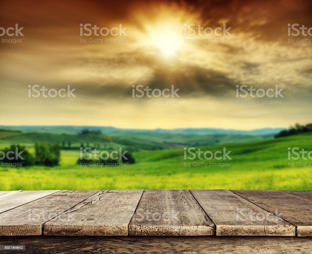 Empty wooden planks with Italian landscape stock photo