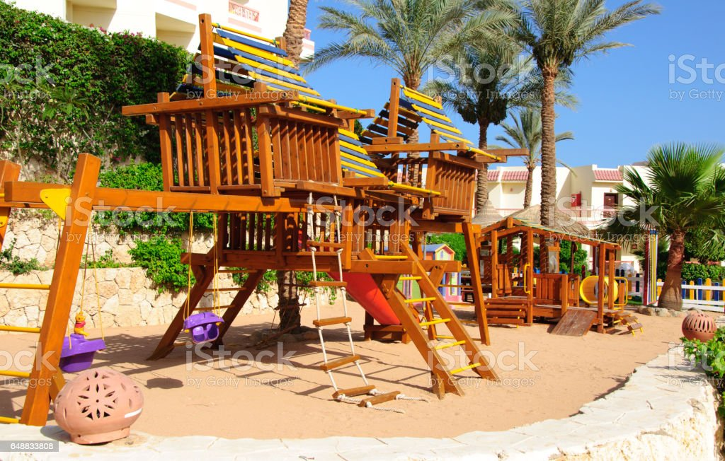 Empty Wooden playground for children in hotel resort in Egipt, Sinai stock photo