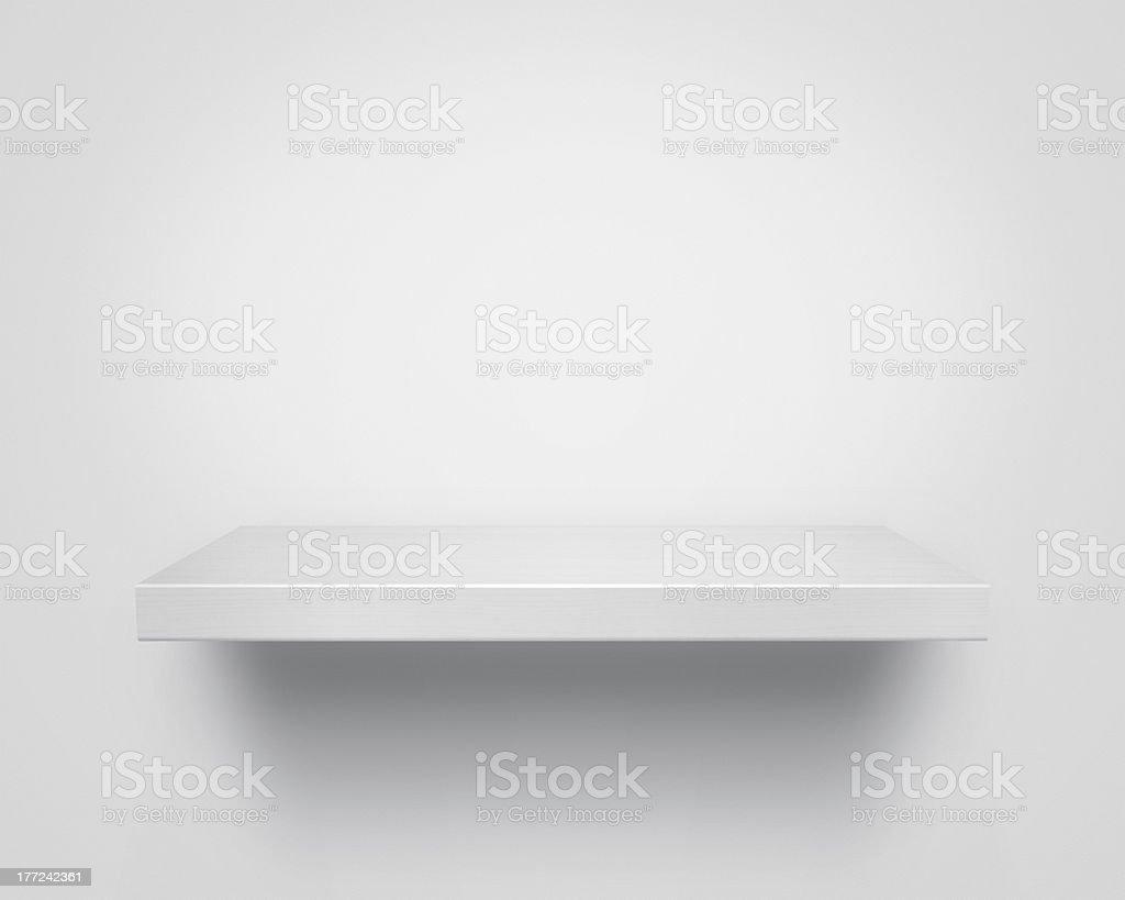 Empty wooden shelf stock photo