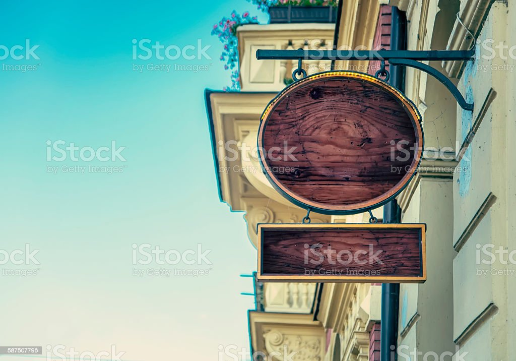 Empty wooden signs stock photo