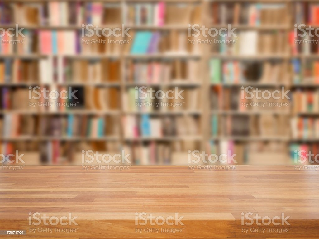 Empty wooden table and modern library background, product displa stock photo