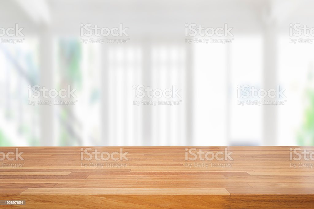Empty wooden table and room interior decoration background stock photo