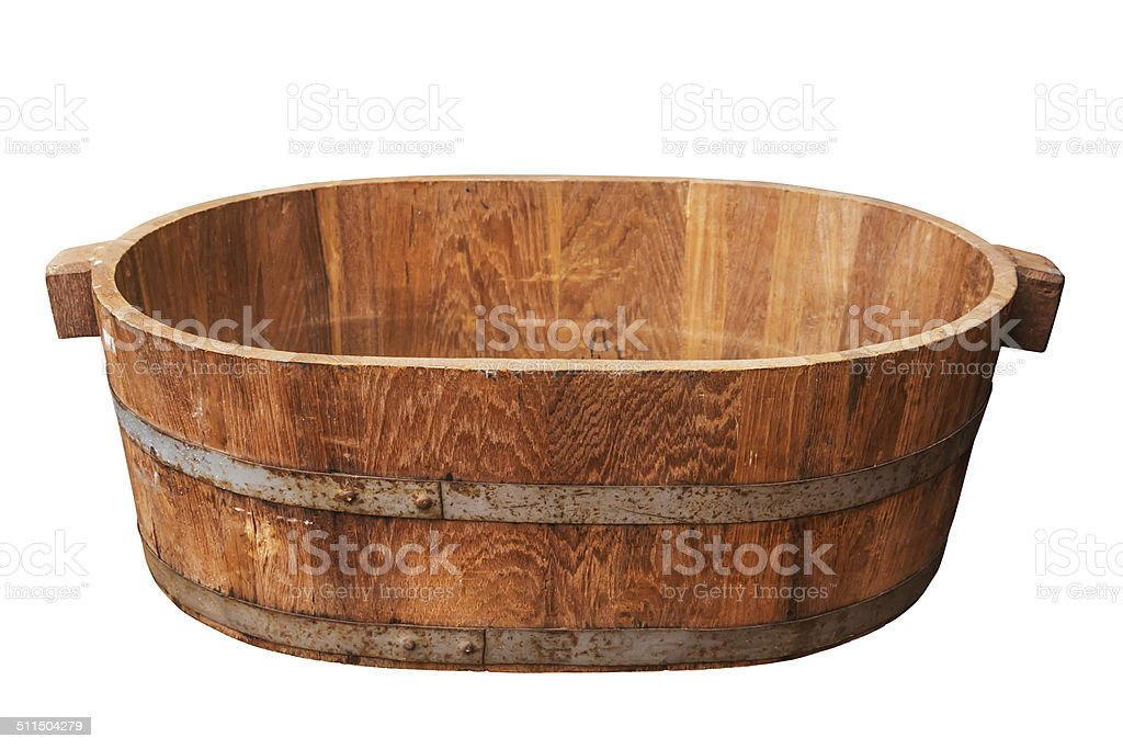 Empty wooden tub. stock photo