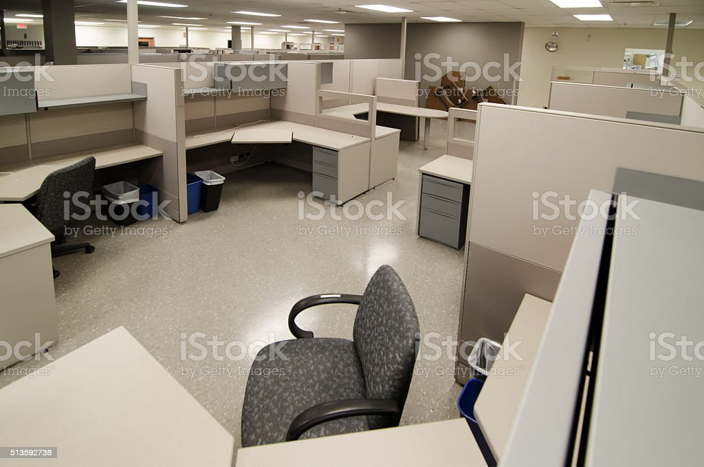 Empty work office cubicles color beige stock photo
