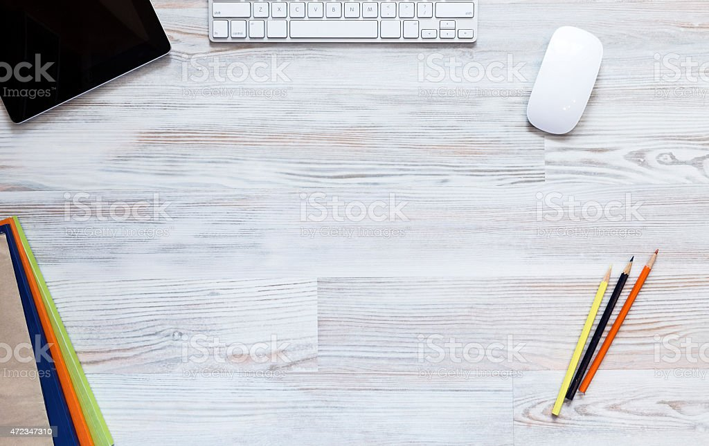 Empty workspace on wooden table stock photo