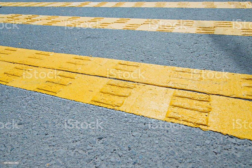 Empty yellow cross walk stock photo