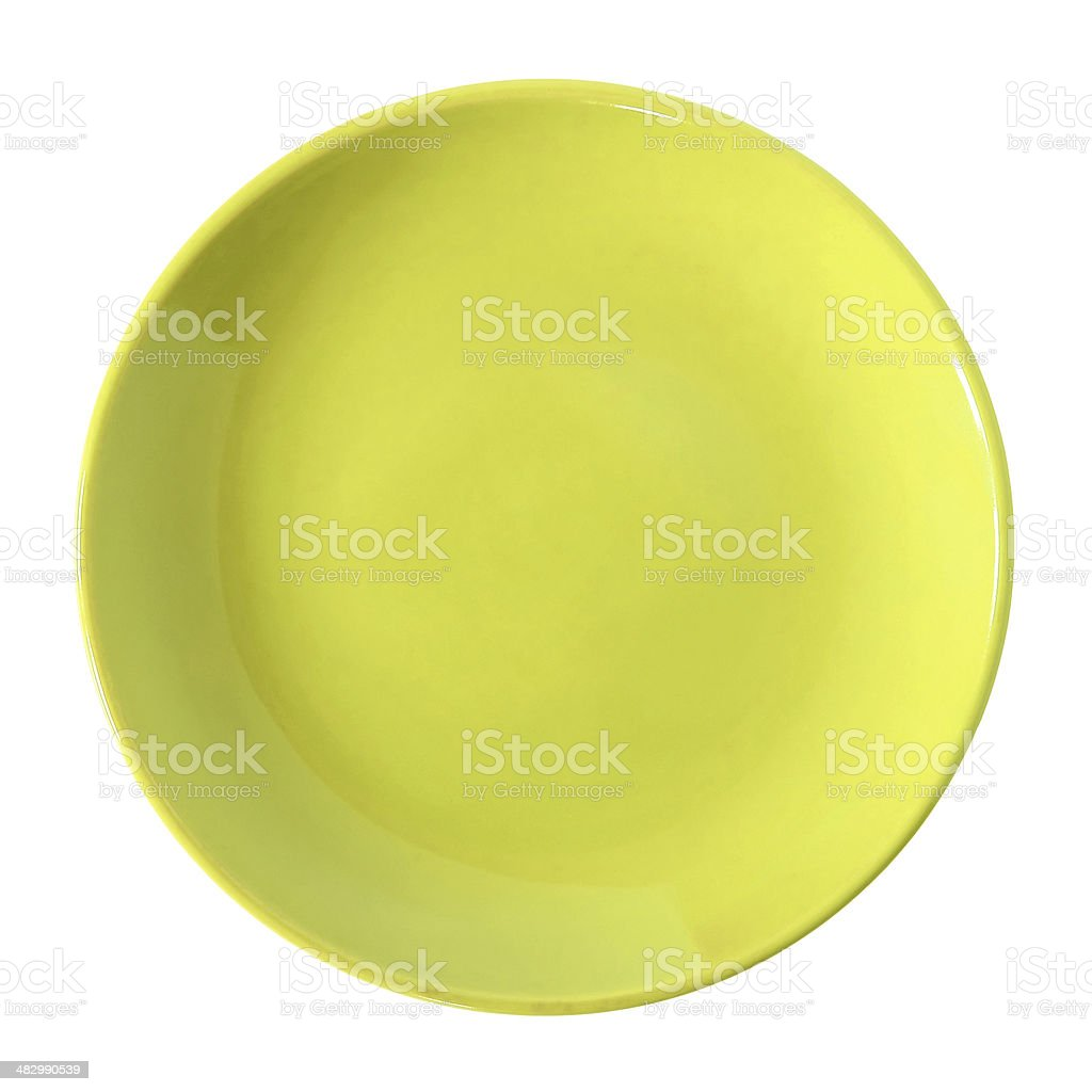 Empty yellow plate isolated on white stock photo