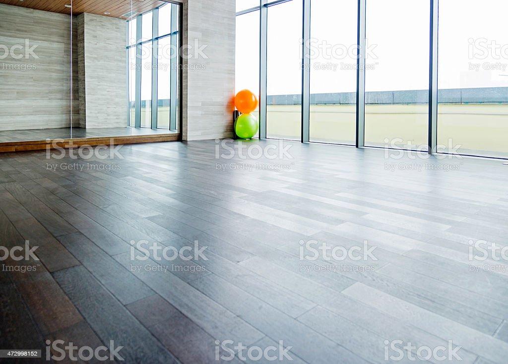 Empty yoga classroom stock photo