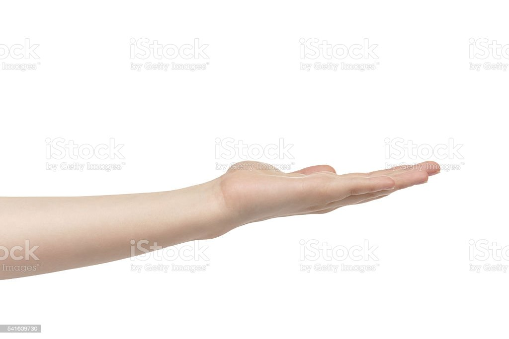 empty young female hand to hold something stock photo