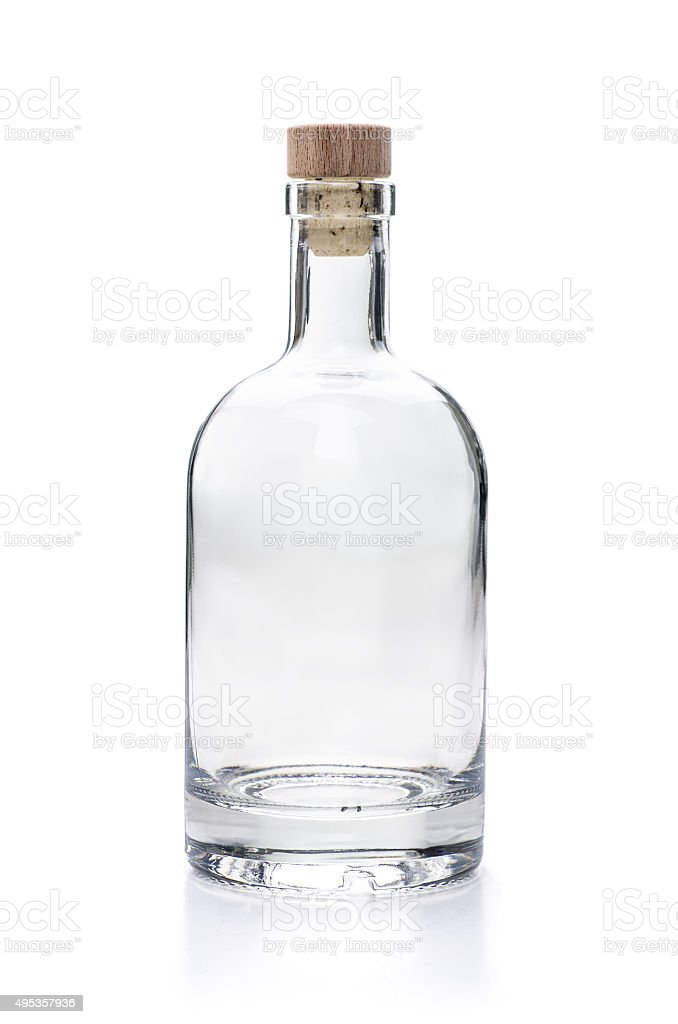 empy liquor bottle on a white background stock photo