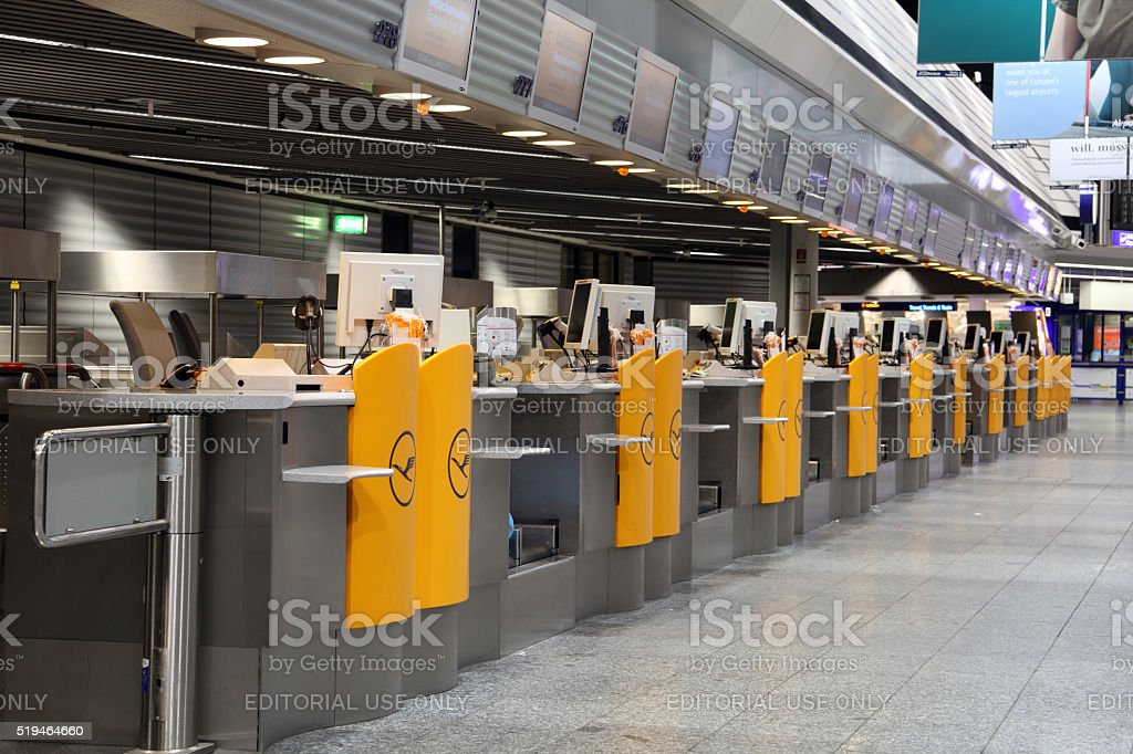 Emtpy Lufthansa check in counters at Frankfurt airport stock photo