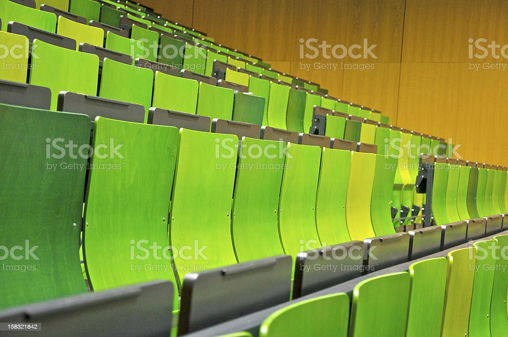 Emty seats in a lecture room stock photo