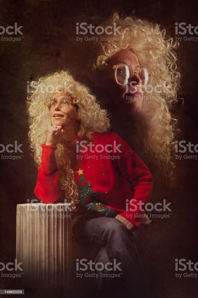Emulated Vintage Christmas Portrait Photograph royalty-free stock photo