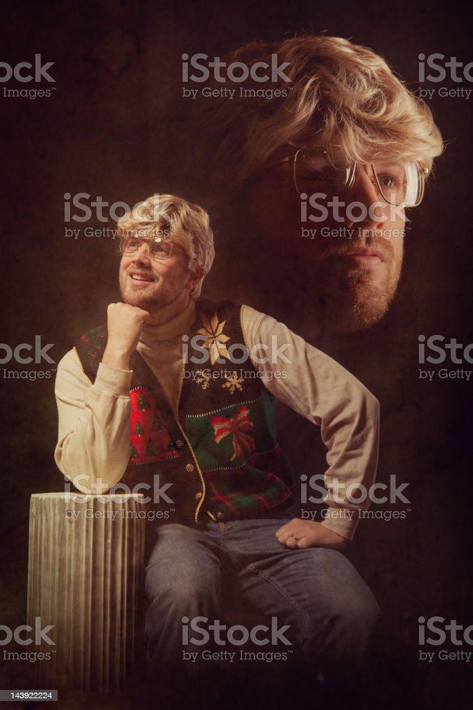 Emulated Vintage Christmas Portrait Photograph stock photo