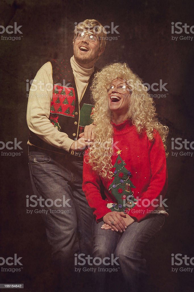 Emulated Vintage Christmas Portrait Photograph stock photo