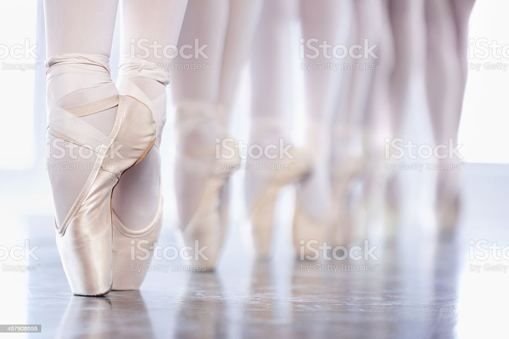 En pointe in a row stock photo