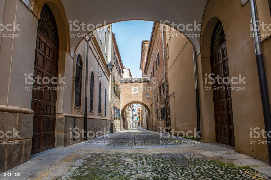 Encarnacion Street at medieval old town of Plasencia, Caceres, Spain stock photo