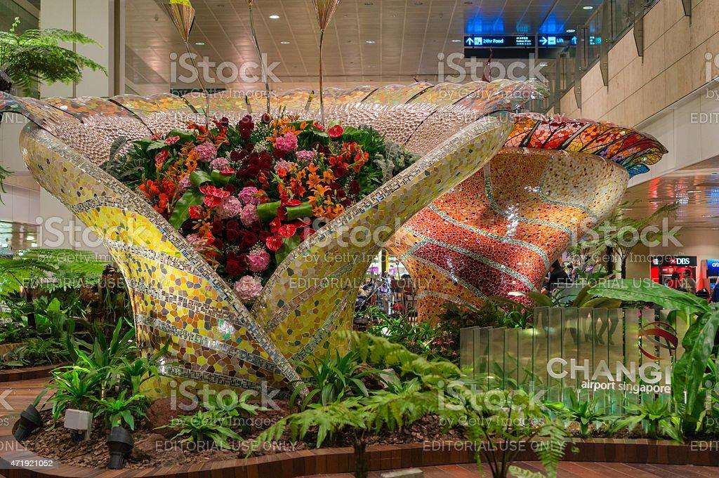 Enchanted garden in Changi airport stock photo