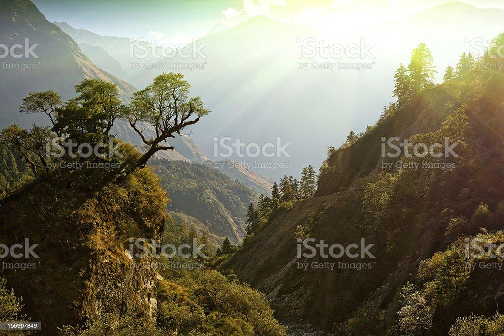 enchanted Nepal landscape stock photo