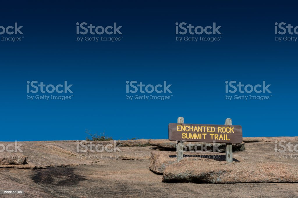 Enchanted Rock Summit Sign stock photo