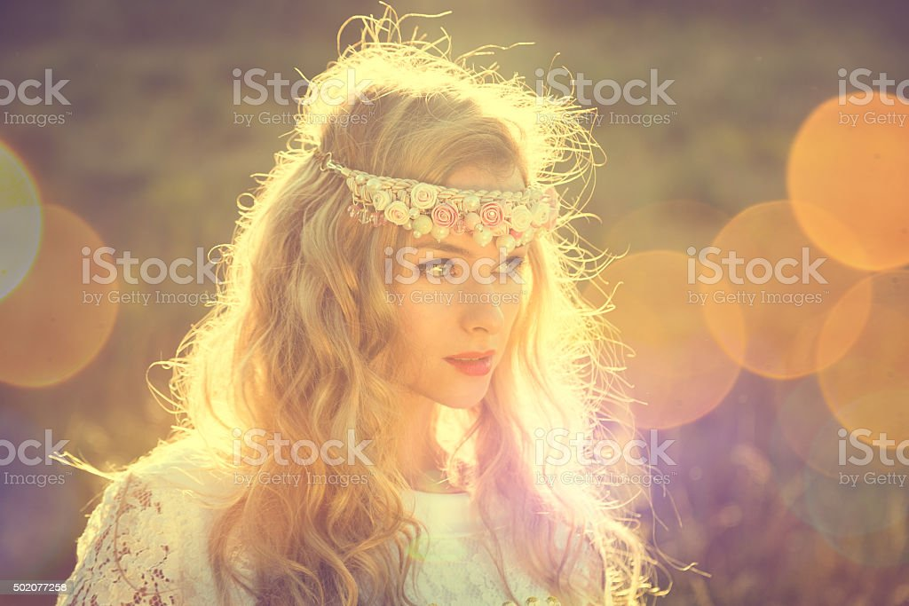 Enchanting Bride on Nature Background stock photo