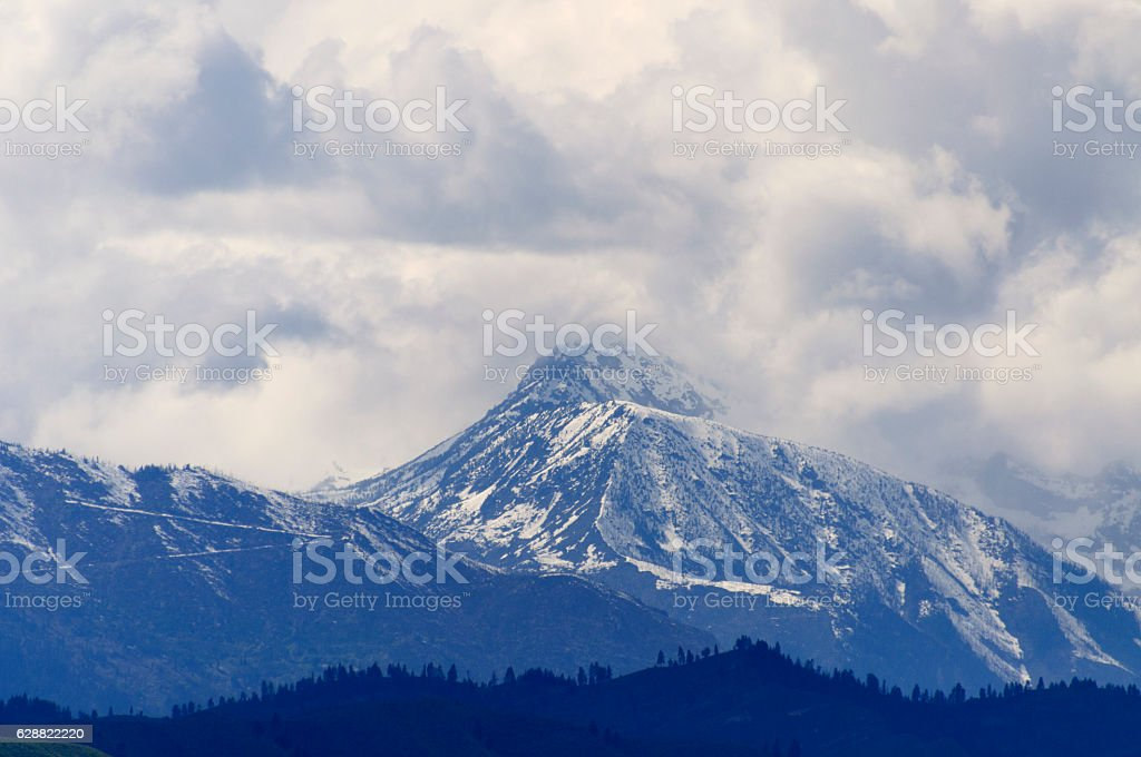 Enchantment Peaks from Wenatchee, Washington stock photo