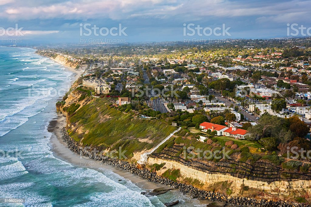 Enciniitas California From Above - San Diego County stock photo
