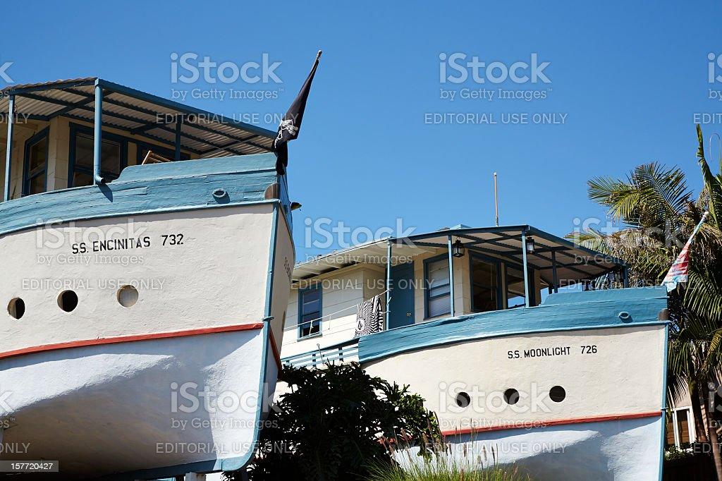 SS Encinitas and Moon Light House Boats, Encinitas-California royalty-free stock photo