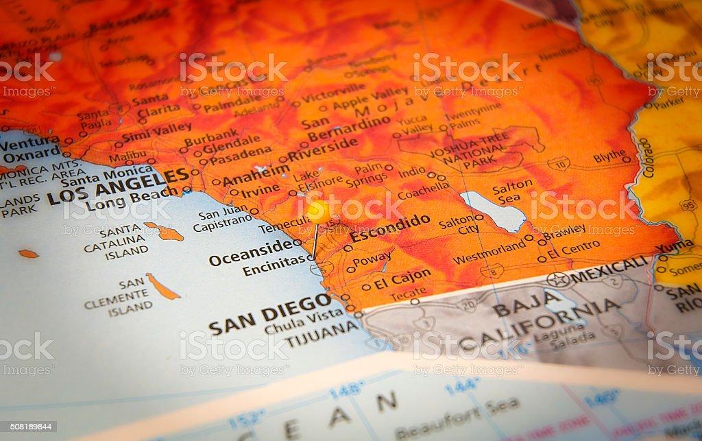 Encinitas California Travel Road Map With Mexican Border stock photo