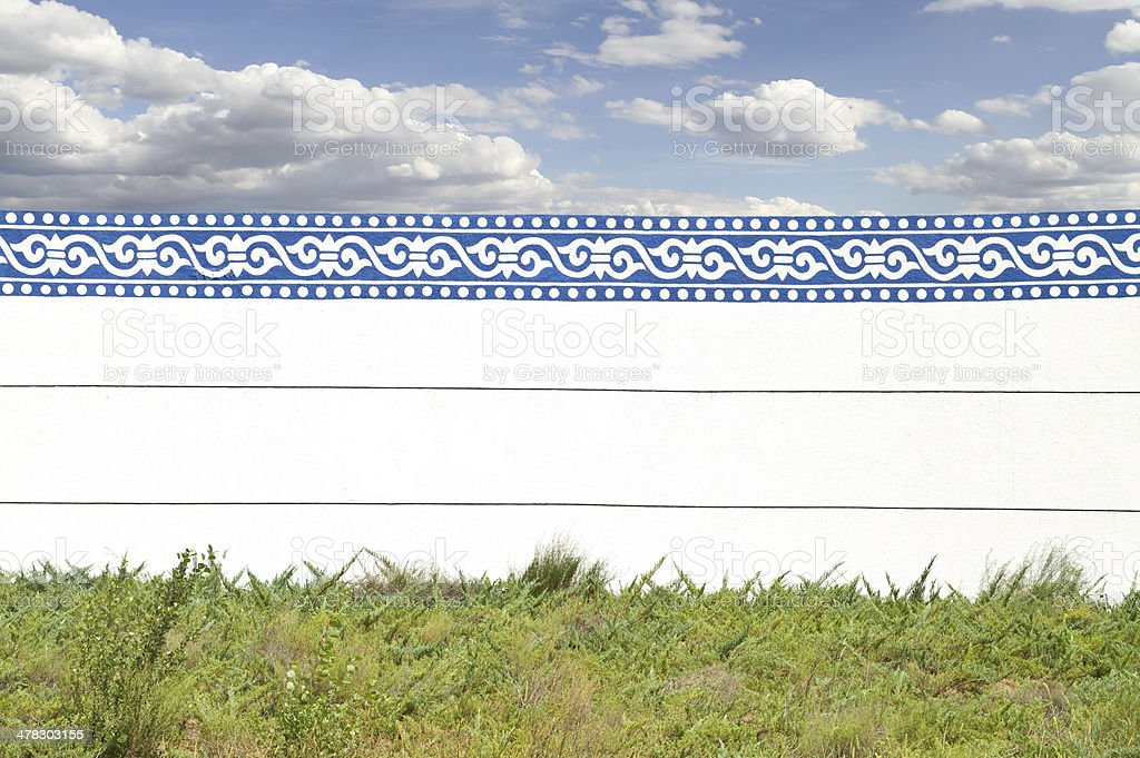 Enclosing Walls with Blue Lace royalty-free stock photo