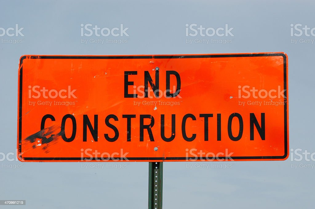End Construction Sign royalty-free stock photo