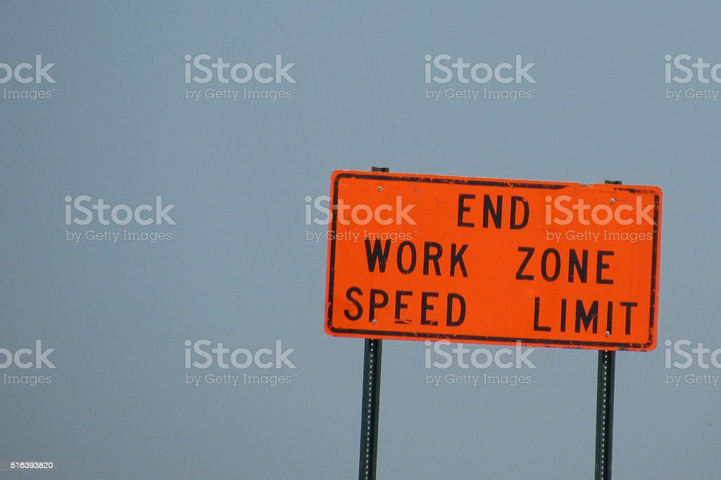 end construction speed limit stock photo