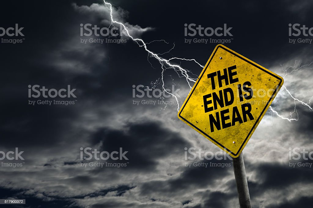 End is Near Sign With Stormy Background stock photo