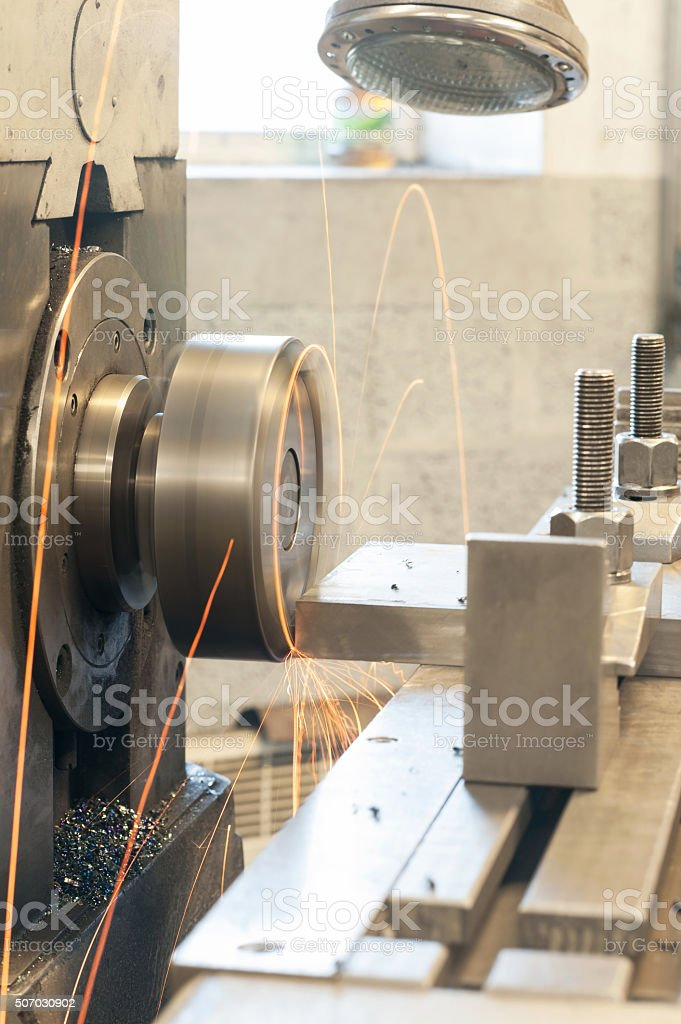 End milling with horizontal side mill machine. Metalworking, mechanical engineering stock photo