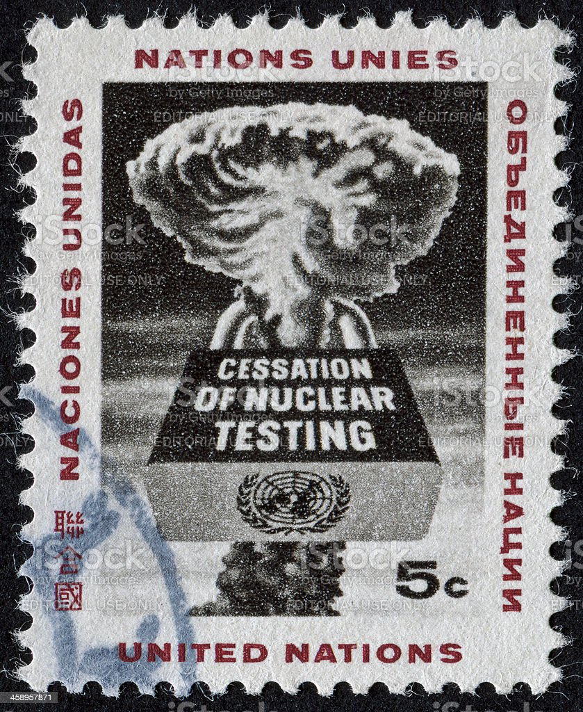 End Nuclear Testing Stamp stock photo