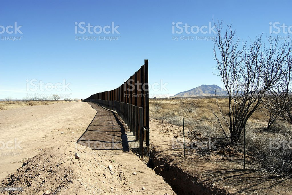 End of border fence in Arizona royalty-free stock photo
