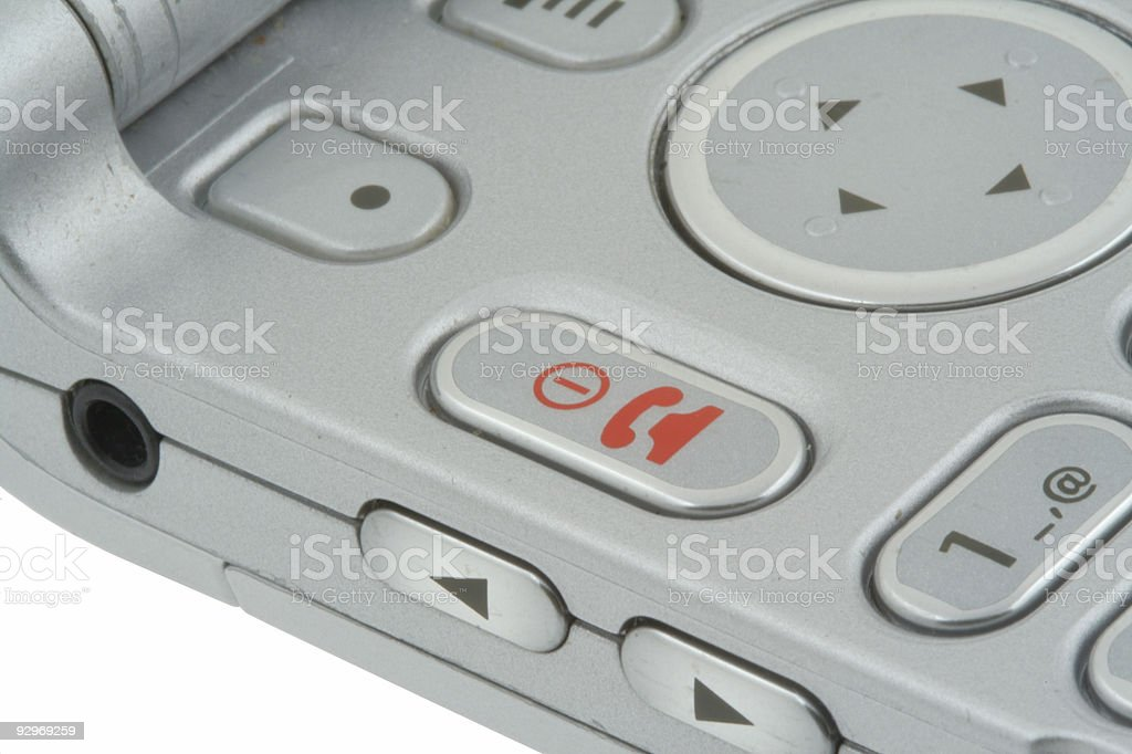 End of call button - real macro royalty-free stock photo