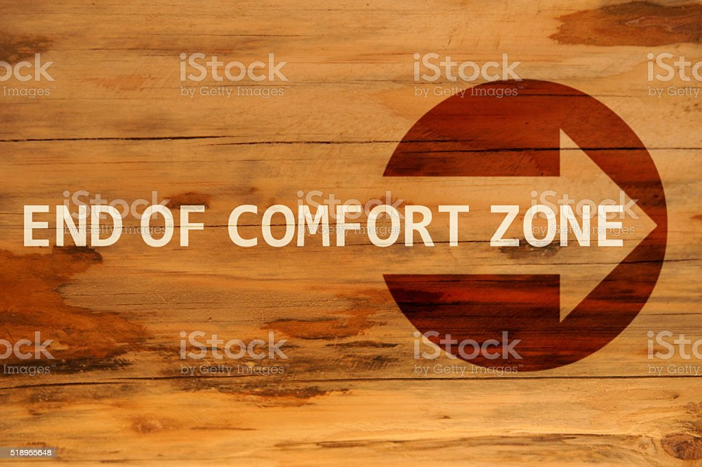 End of comfort zone stock photo