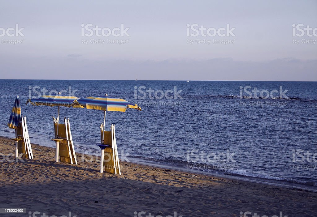 End of day on the beach stock photo