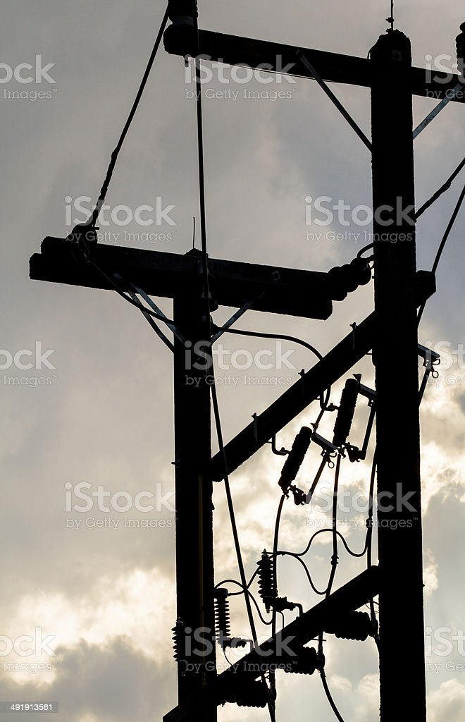 End of electricity line  on post stock photo