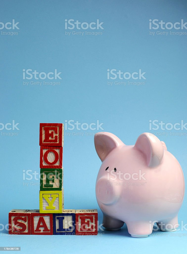 End of Financial Year Sale building blocks with Piggy Bank. stock photo