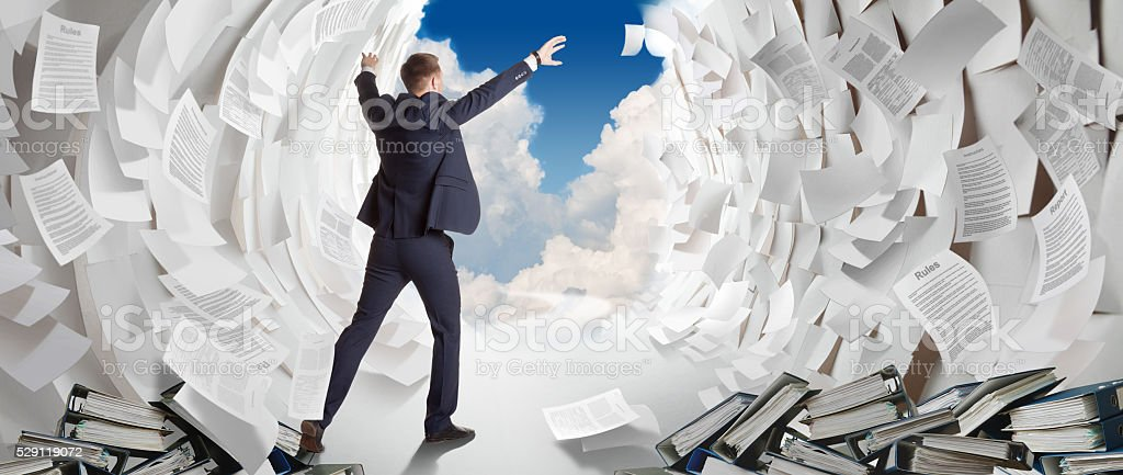 End of heavy office work stock photo