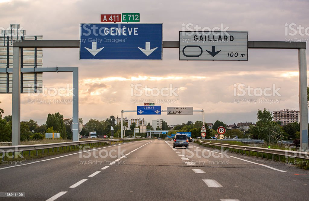End of Highway approaching border Switzerland-France stock photo